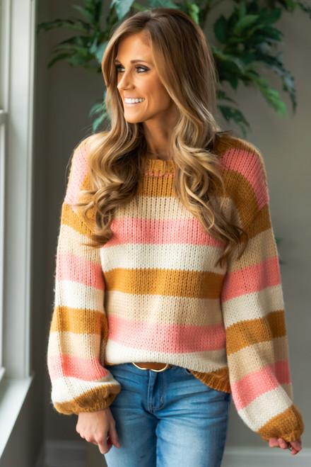 Stella Striped Sweater - Camel/Cream/Pink/White