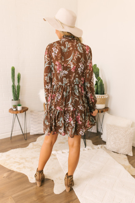 Mock Neck Ruffle Floral Dress - Brown - FINAL SALE
