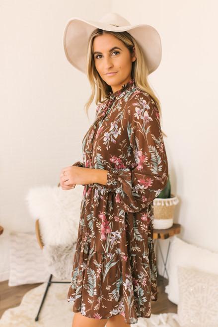 Mock Neck Ruffle Floral Dress - Brown - FINAL SALE