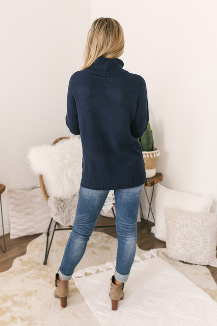 Puff Sleeve Turtleneck Sweater - Navy