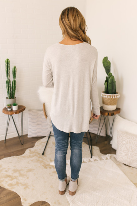 V-Neck Soft Knit Top - Heather Grey