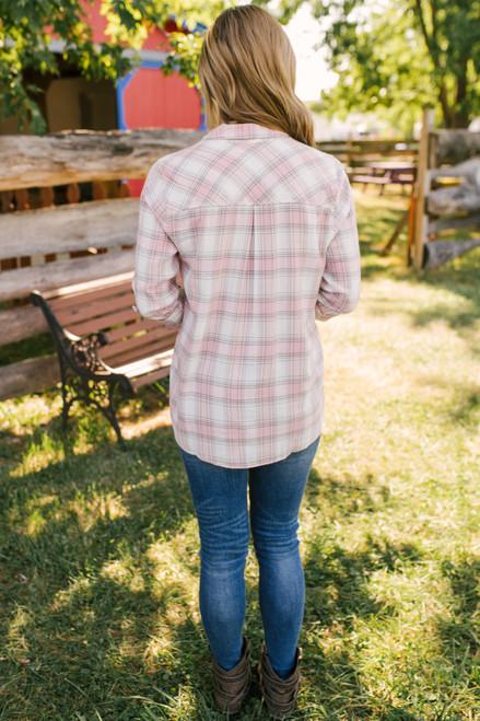 Adventure of a Lifetime Plaid Button Down - Blush