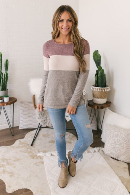 Soft Brushed Colorblock Pullover - Burgundy/Taupe/Grey