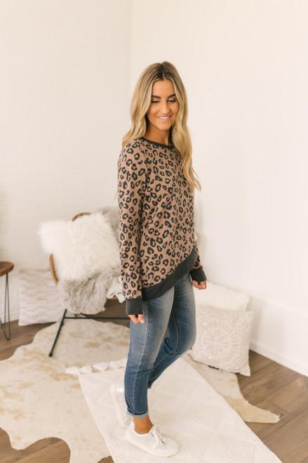 Tulip Hem Leopard Pullover - Brown