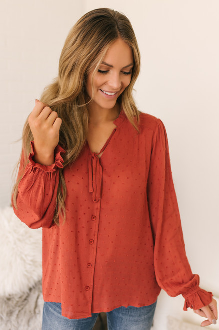 Tie Front Button Down Dotted Top - Rust -  FINAL SALE