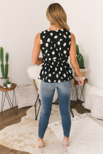 Faux Wrap Printed Top - Black - FINAL SALE
