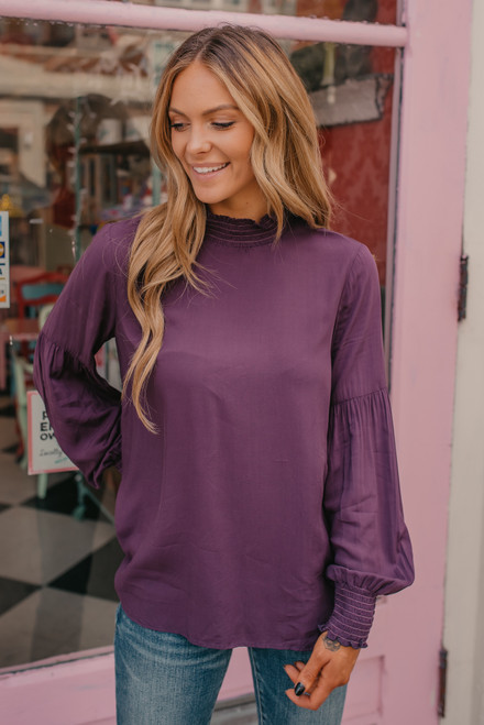 Mock Neck Smocked Detail Top - Plum
