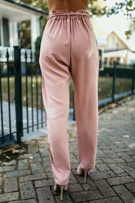 Tie Waist Paperbag Pants - Mauve