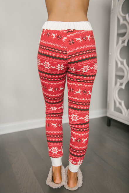 Drawstring Christmas Joggers - Red