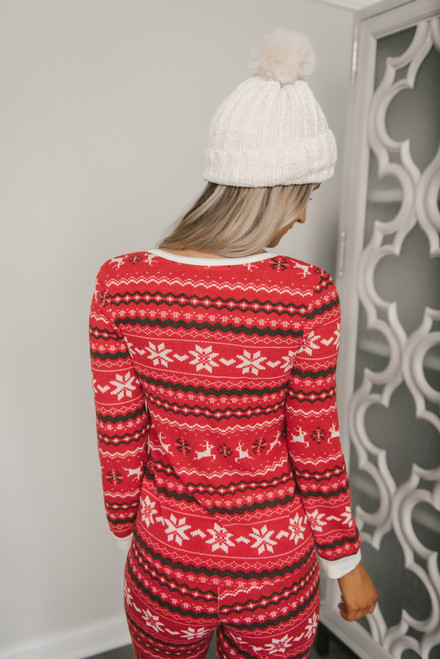 Long Sleeve Christmas Henley Top - Red