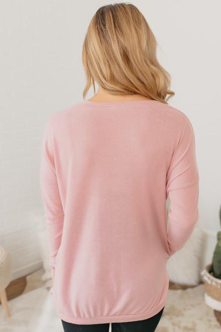 Cozy Knit Pocket Tunic - Pink - FINAL SALE
