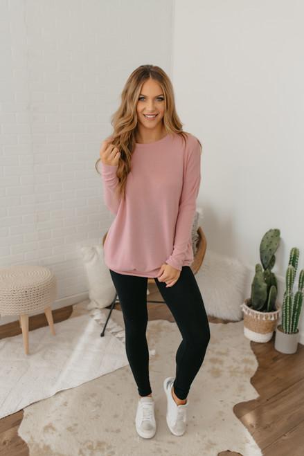 Cozy Knit Pocket Tunic - Pink