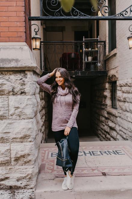 Cowl Neck Pocket Pullover - Heather Mauve