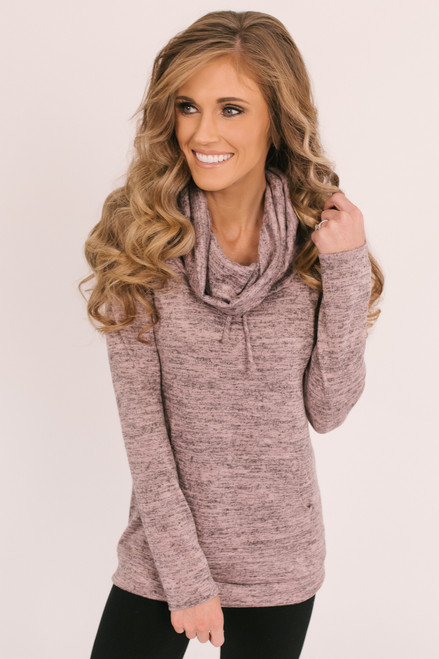 Cowl Neck Pocket Pullover - Heather Mauve