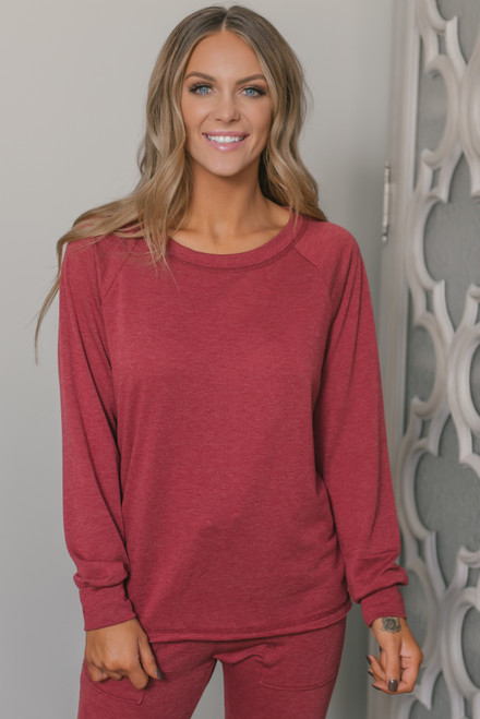 French Terry Raglan Pullover - Burgundy