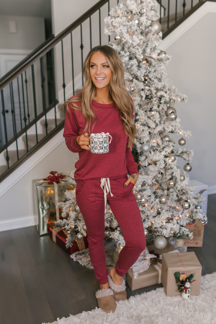 Drawstring Terry Joggers - Burgundy