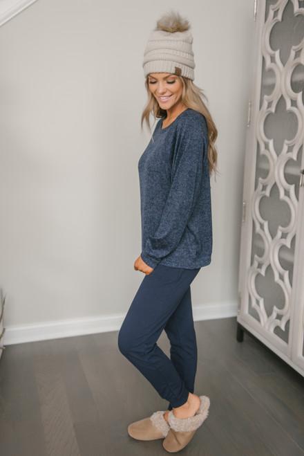 Soft Fleece Pullover - Heather Navy