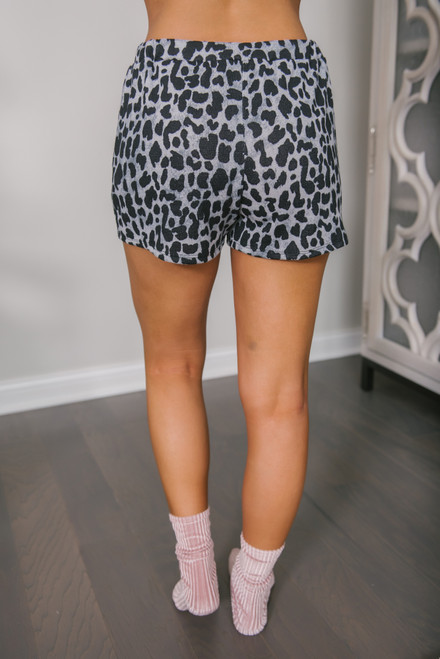 Leopard Lounge Shorts - Grey