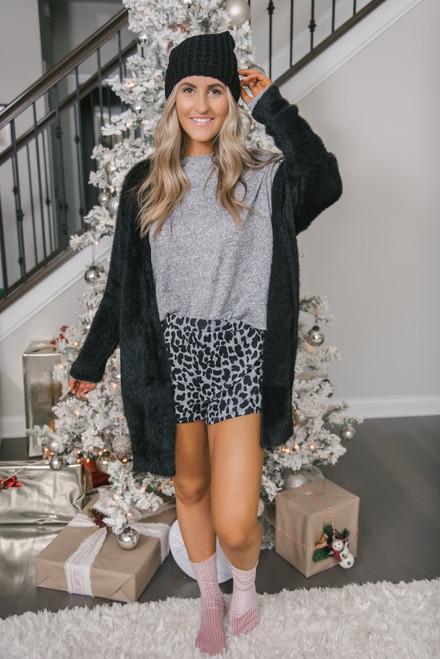 Leopard Lounge Shorts - Grey - FINAL SALE