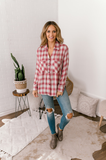 Button Down Plaid Shirt - Red/White