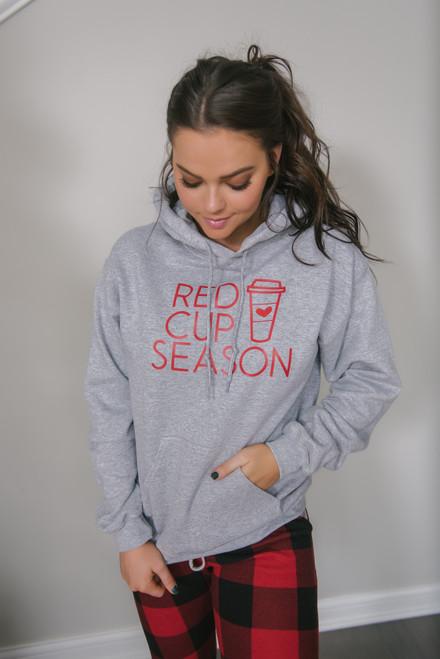 Red Cup Season Hoodie - Heather Grey