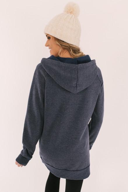 V-Neck Drawstring Fleece Hoodie - Navy