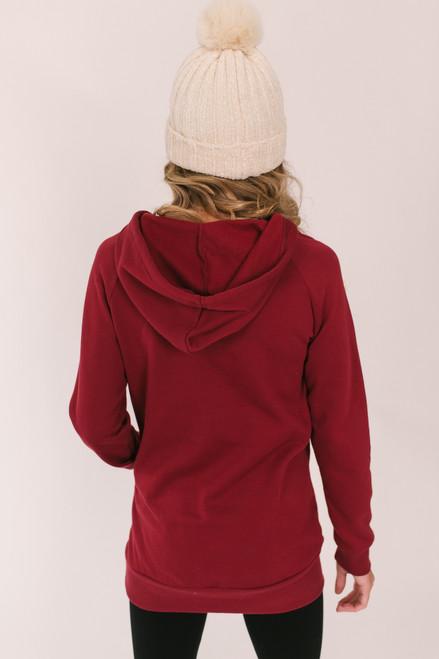 V-Neck Drawstring Fleece Hoodie - Burgundy