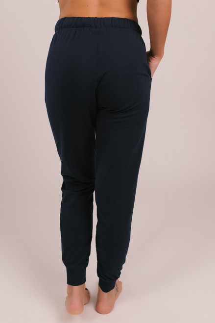 Drawstring Terry Joggers - Navy