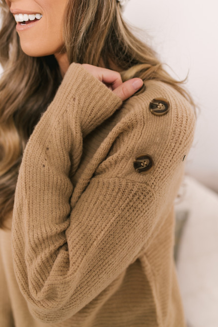 Button Detail Ribbed Sweater - Beige
