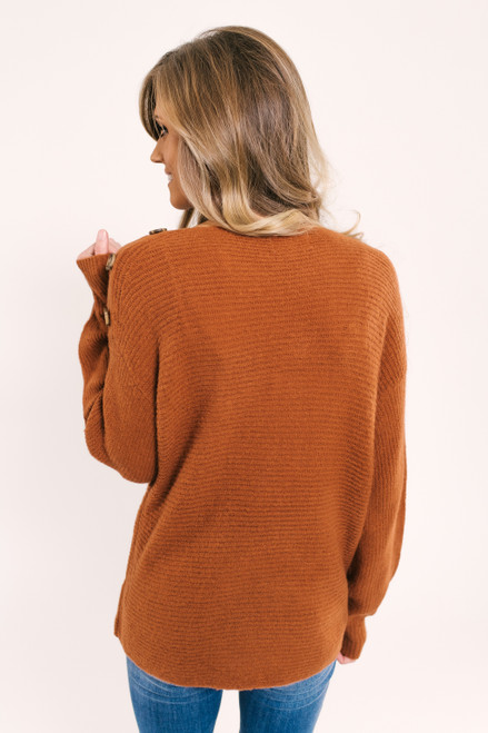 Button Detail Ribbed Sweater - Clay Rust - FINAL SALE