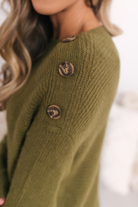 Button Detail Ribbed Sweater - Olive - FINAL SALE