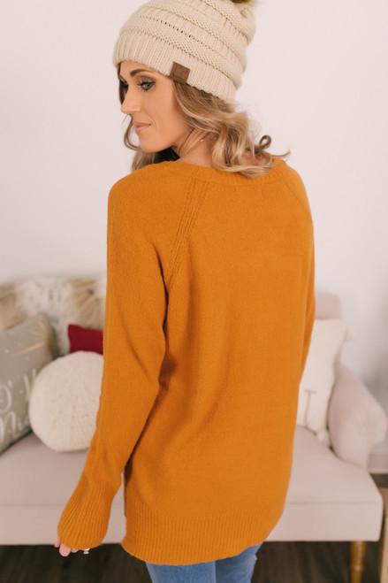 V-Neck Raglan Sweater - Sugar Almond