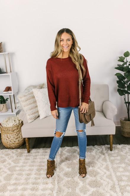 Honeycomb Chevron Sweater - Brick - FINAL SALE