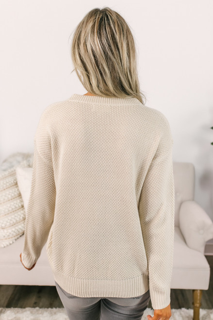 Honeycomb Chevron Sweater - Cream - FINAL SALE