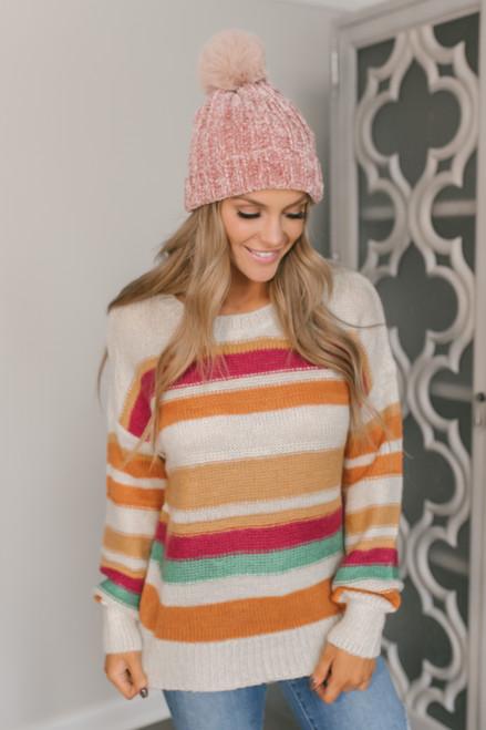 Multicolor Striped Sweater - Clay Multi
