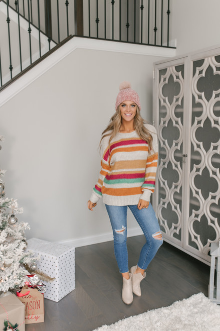 Multicolor Striped Sweater - Clay Multi