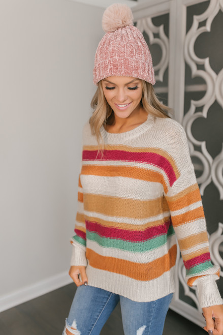 Multicolored Striped Sweater - Clay Multi
