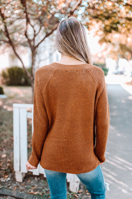 Two Tone Button Detail Sweater - Camel Copper