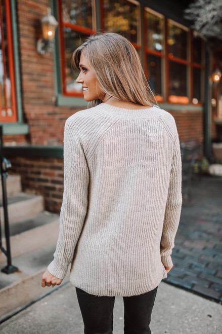 Two Tone Button Detail Sweater - Taupe