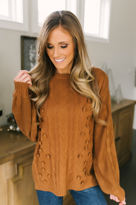 Cable Pom Argyle Sweater - Copper
