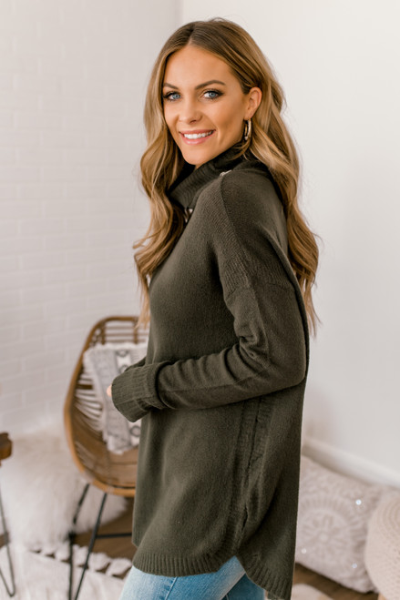 Cowl Neck Button Detail Sweater - Olive