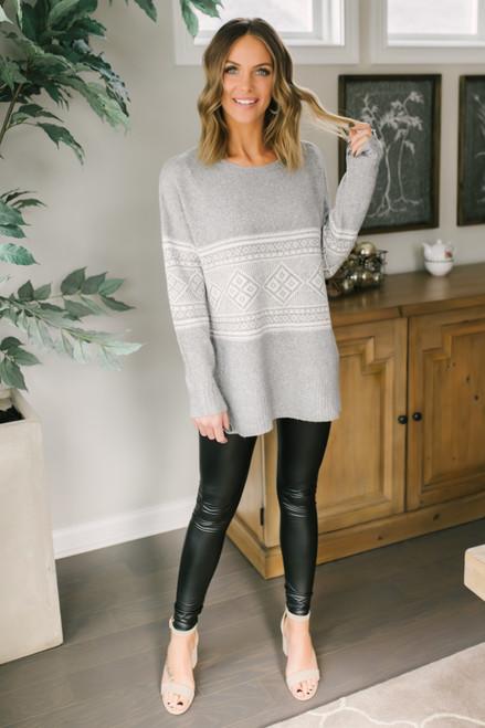 Fair Isle Sweater - Heather Grey/White