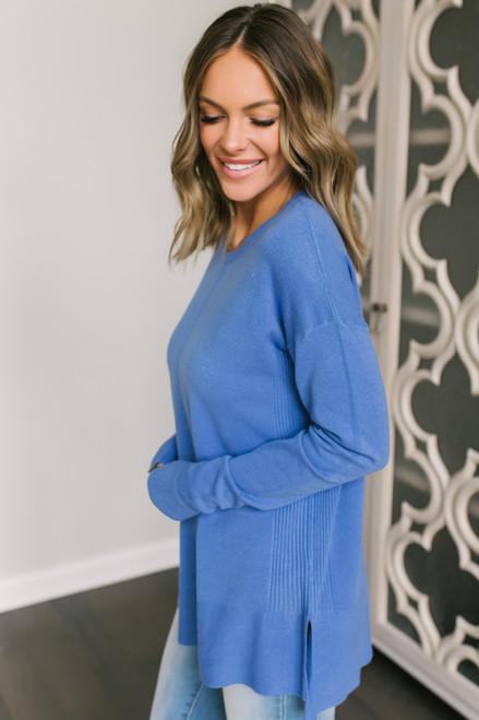 Bundle Up Seam Detail Sweater - Dusty Blue