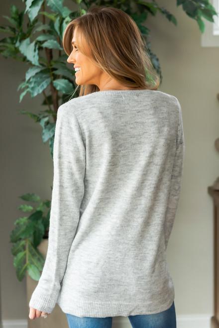 Sweet Memories V-Neck Sweater - Heather Grey