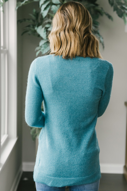 Sweet Memories V-Neck Sweater - Teal