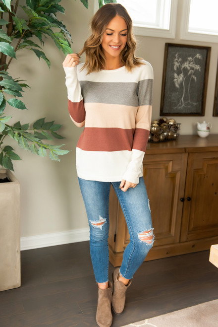 Ashton Colorblock Sweater - Ivory/Grey/Taupe/Copper