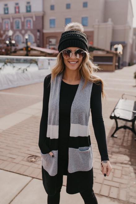 Open Front Colorblock Vest - Grey Multi