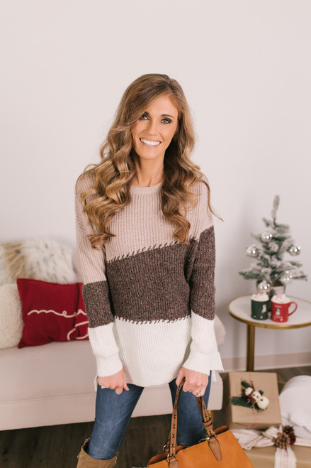 Stitched Colorblock Sweater - Oatmeal/Brown/Ivory
