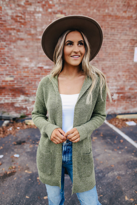 Two Tone Hooded Cardigan - Olive