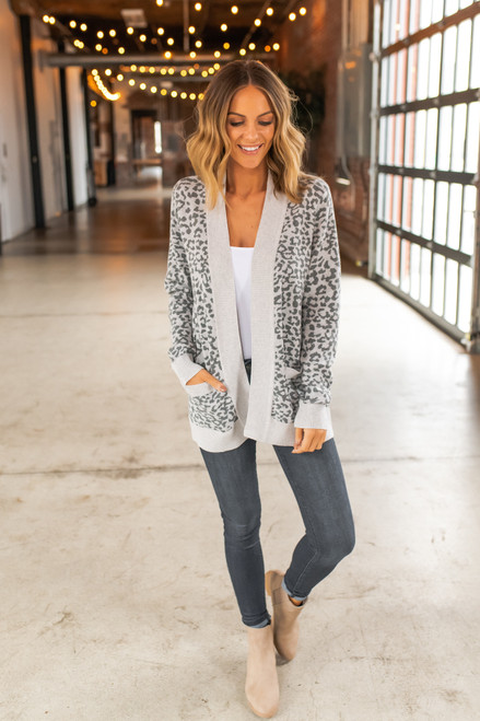 Ribbed Detail Leopard Cardigan - Grey